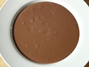 A plate of chocolate pudding