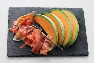 cantaloupe melon with slices prosciutto